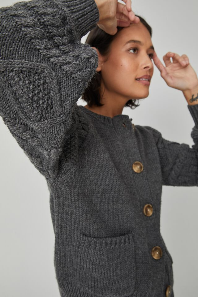 Cable Sleeve Cardigan, CHARCOAL MARLE