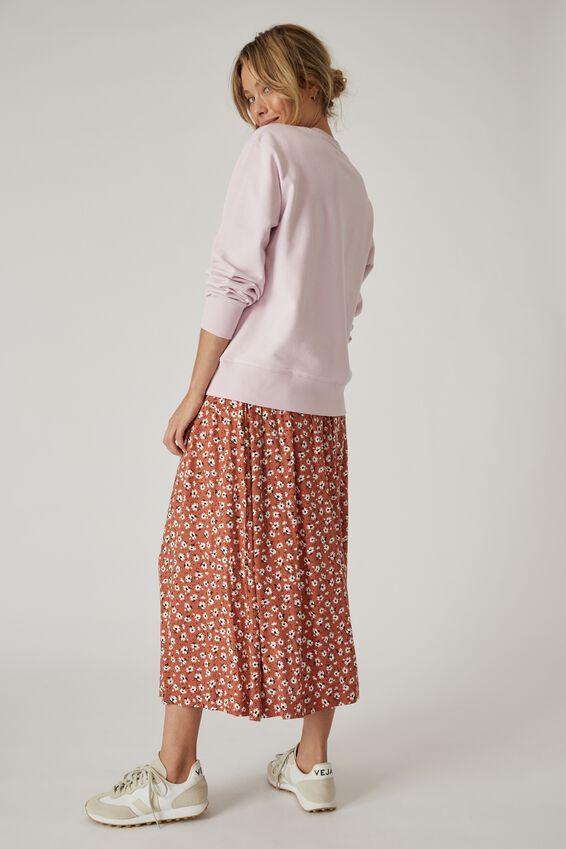 Bijou Midi Skirt, RUST FLORAL