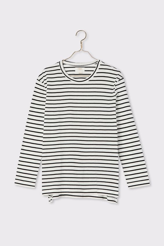 Organic Oversized Daily Ls Step Hem Tee, BLACK WHITE MIDI STRIPE