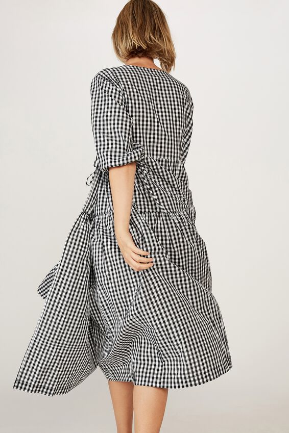 Picnic Wrap Dress, BLACK WHITE GINGHAM