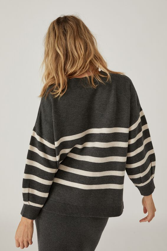 Soft Oversized Stripe Split Hem Jumper, CHARCOAL STRIPE
