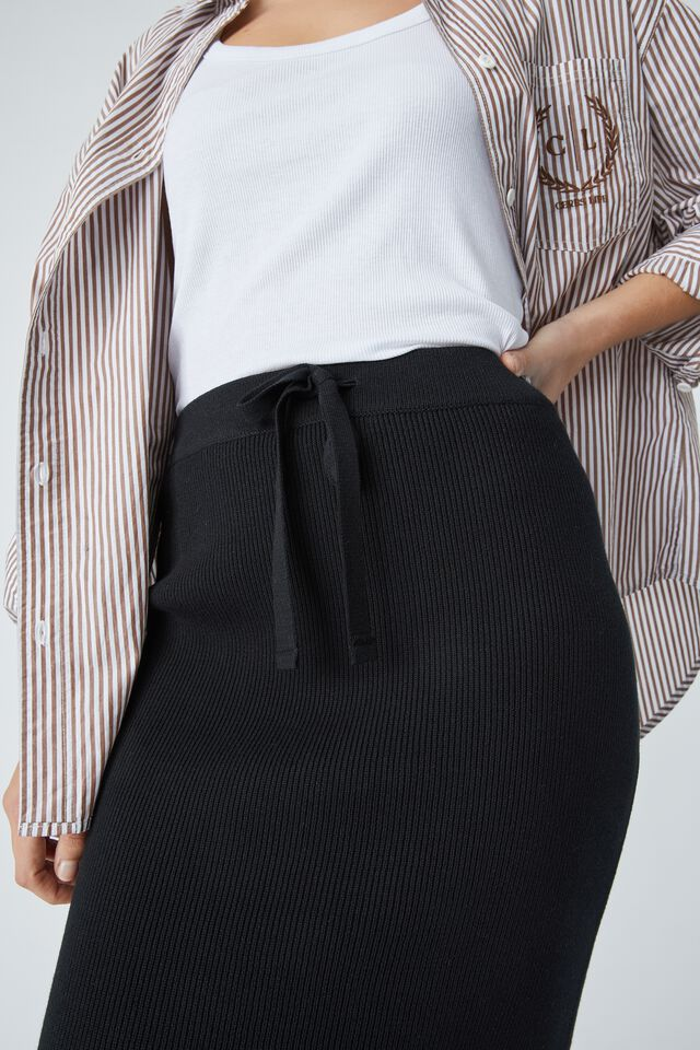 Organic Cotton Knit Skirt, BLACK