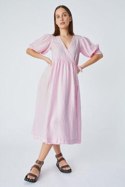 Linen Wrap Midi Dress, PRIMROSE
