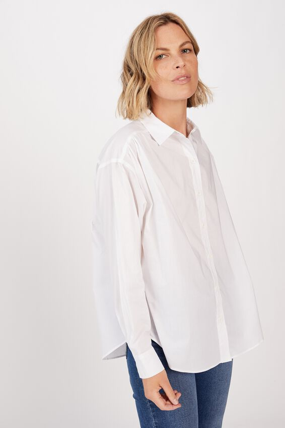 Classic Gathered Shirt, WHITE