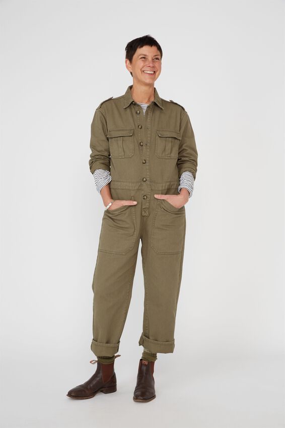Meadow Utility Jumpsuit, KHAKI