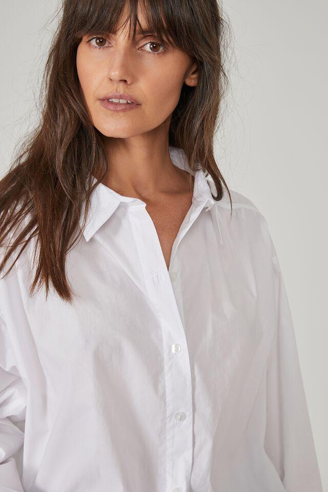 Classic Gathered Shirt, WHITE