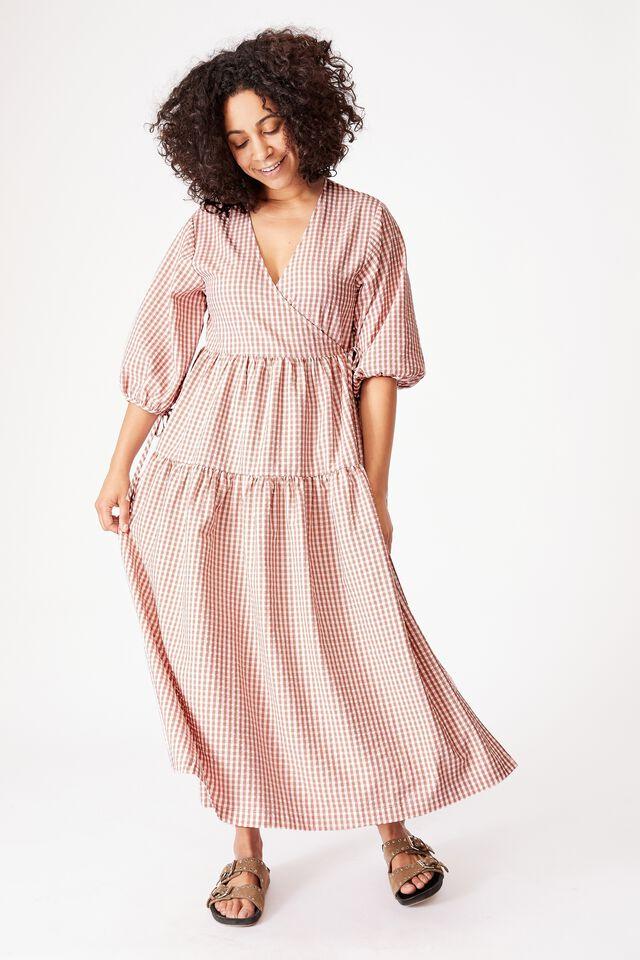 Picnic Wrap Dress, MINI PINK GINGHAM