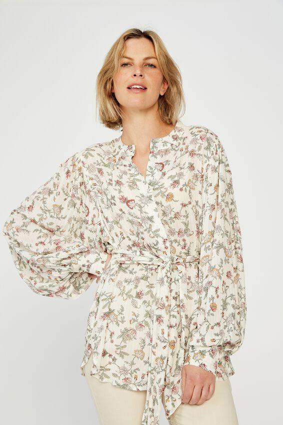 Celestial Shirt, WHITE LUREX FLORAL