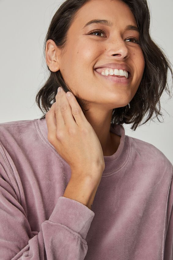 Velour Oversized Sweater, MAUVE SHADOW