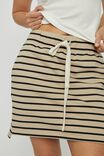 Organic Fleece Mini Tube Skirt, WIDE PEBBLE BLACK STRIPE
