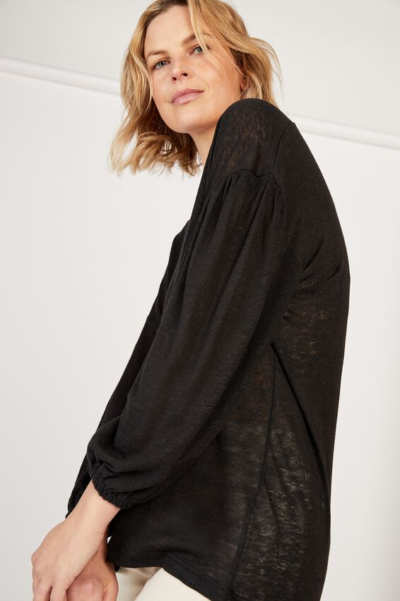 Linen Balloon Sleeve Tee, BLACK