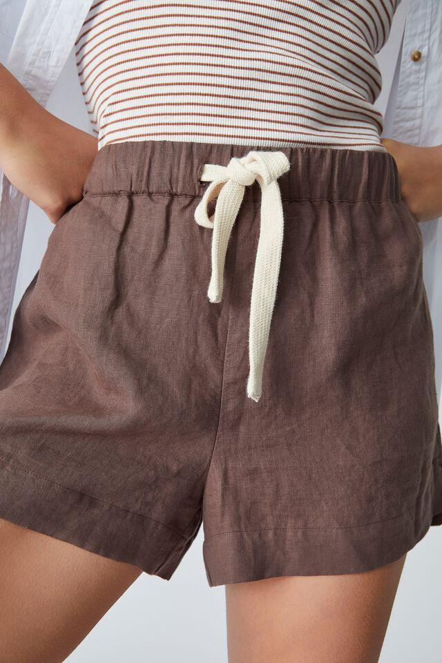 Linen Short, BITTER CHOC