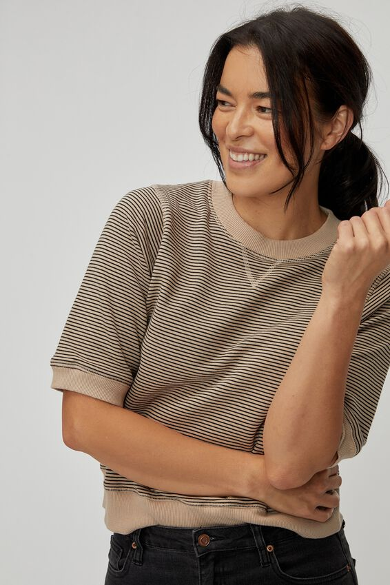 Organic Tussock Short Sleeve Sweat, PEBBLE BLACK STRIPE