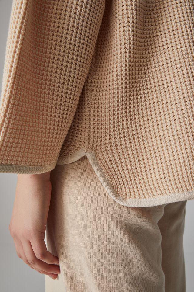 Organic Long Sleeve Waffle Knit Tee, LIGHT CAMEL