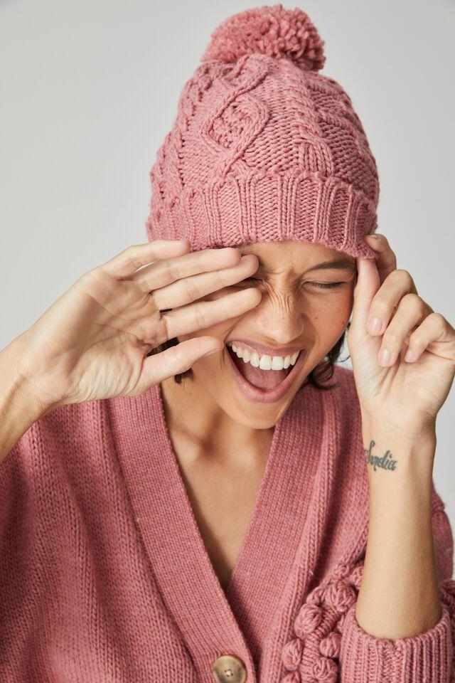 Cable Knit Beanie, FUCHSIA MARLE