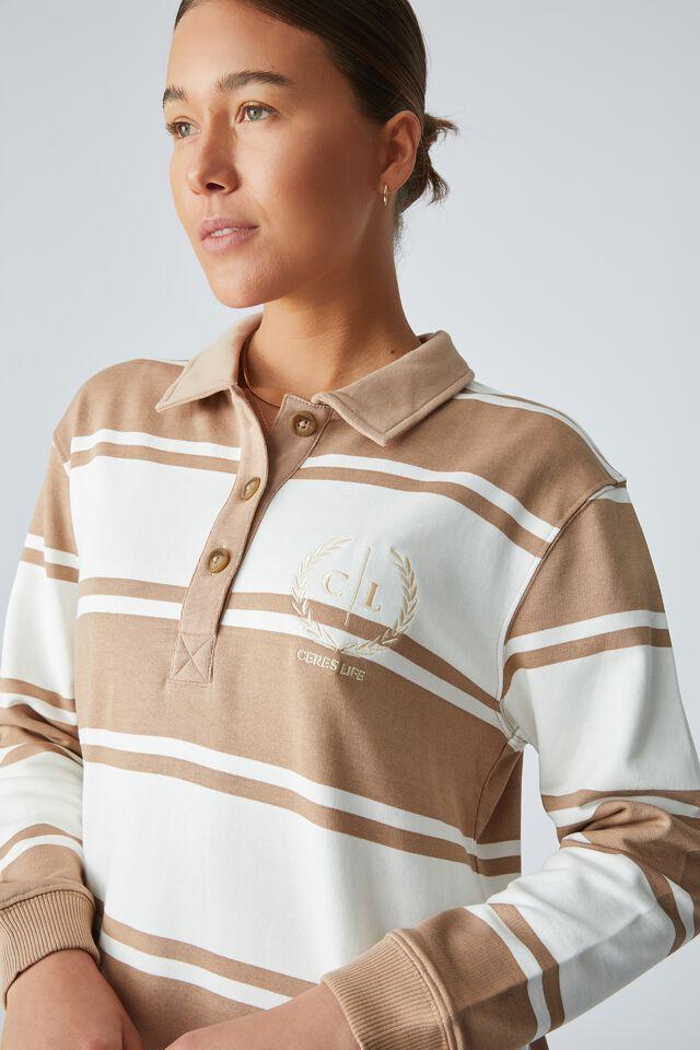 Organic Polo Midi Dress, HERITAGE CAMEL WHITE STRIPE