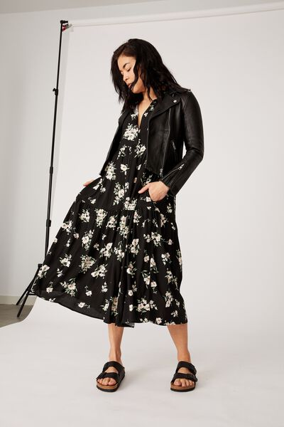 Tiered Shirt Dress, BLACK LARGE FLORAL