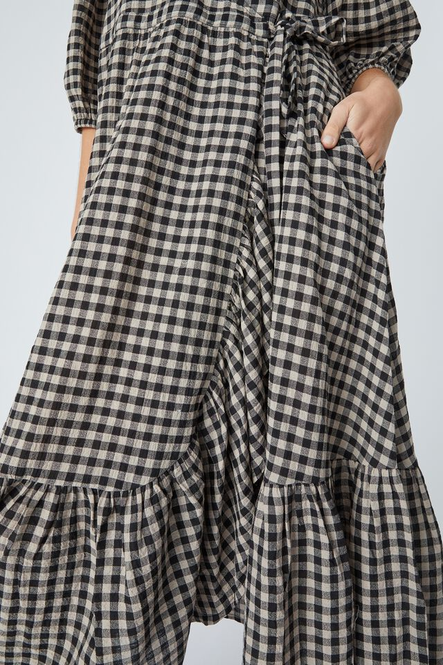 Ruffle Wrap Dress In Organic Cotton Gingham, PEBBLE BLACK CHECK