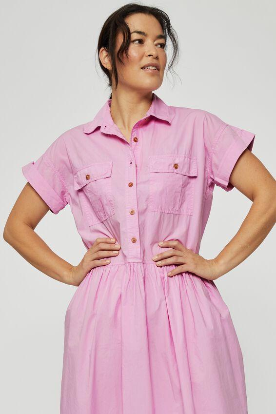 Organic Drop Waist Shirt Dress, PINK