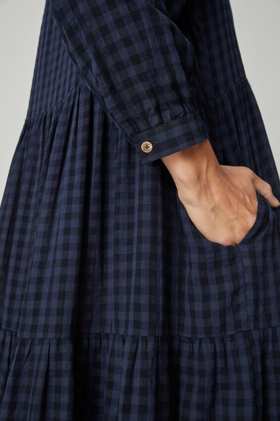 Tiered Shirt Dress With Slip, NAVY BLACK CHECK