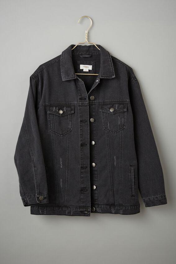 Oversized Denim Jacket, RESCUE BLACK WASH