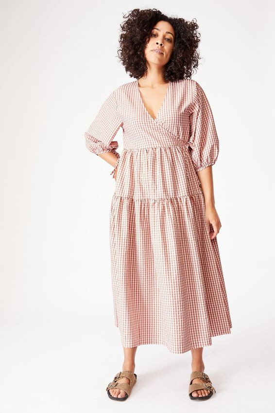 Picnic Wrap Dress, MINI PINK GINGHAM