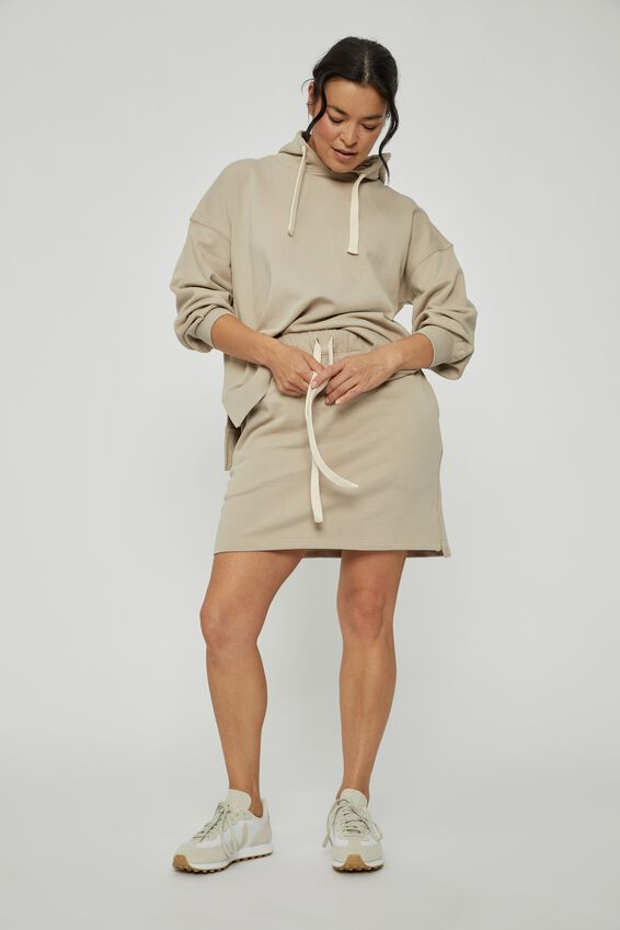 Organic Fleece Mini Tube Skirt, PEBBLE