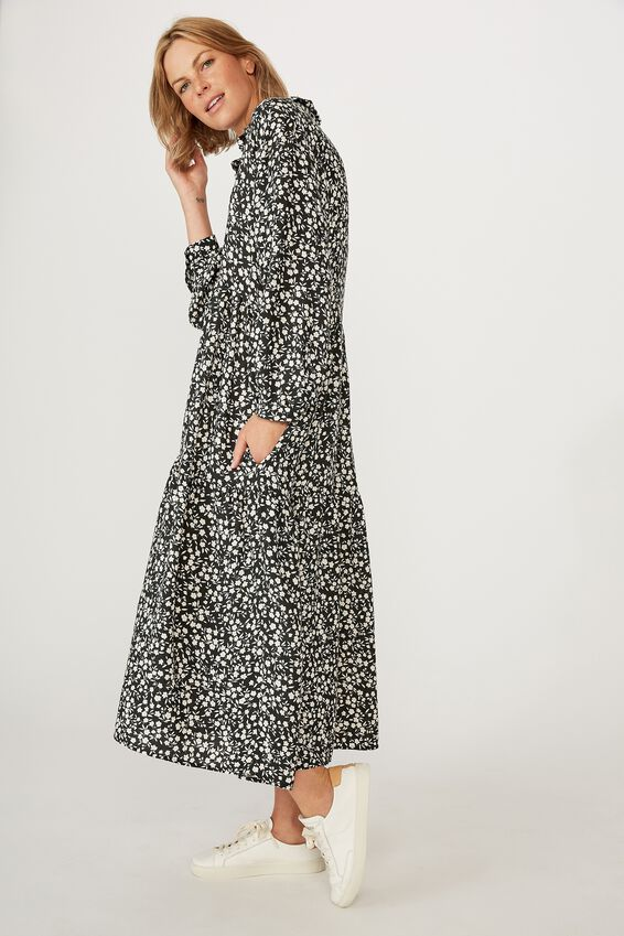 Tiered Shirt Dress, BLACK FLORAL