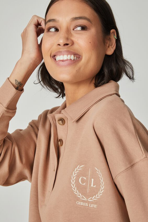 Organic Oversized Rugby Top, CAMEL