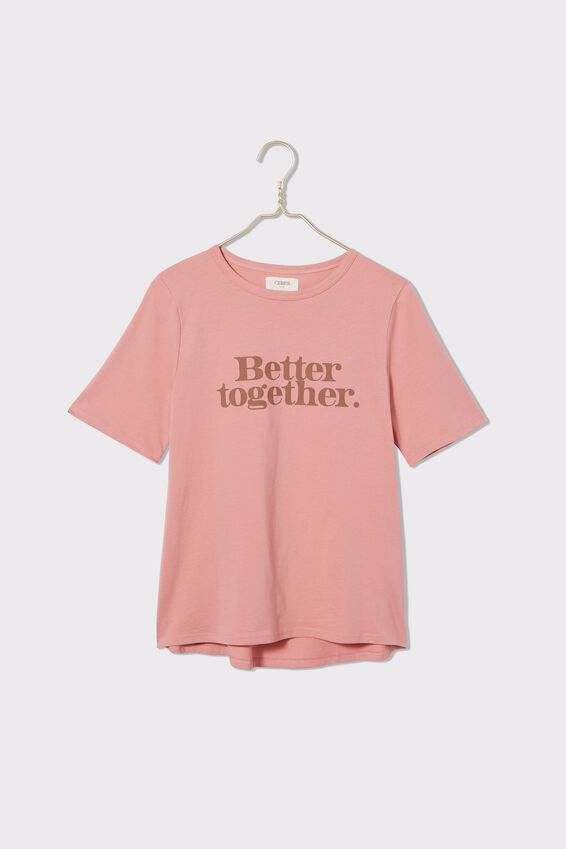 Organic Daily Print Tee, WASHED PINK BETTER TOGETHER