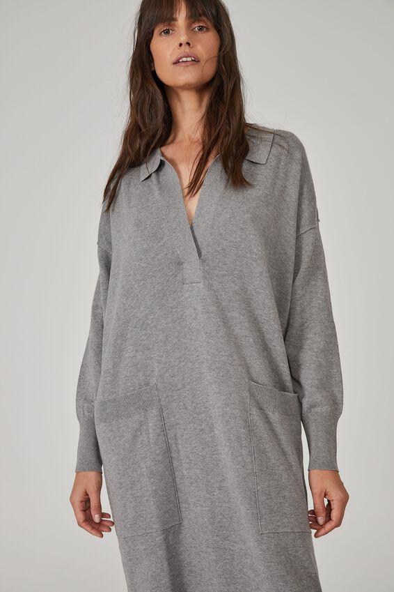 Australian Cotton Knit Slouchy Dress, CHARCOAL MARLE
