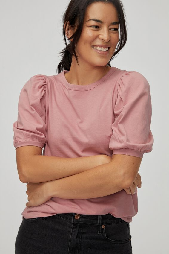 Organic Gathered Puff Sleeve Tee, WASHED PINK