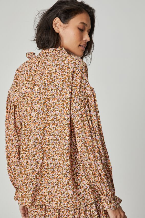 Long Sleeve Ruffle Neck Tunic, MEADOW FLORAL