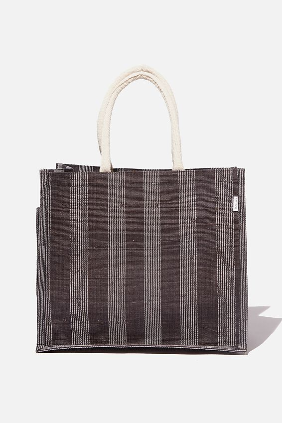 Thyli Farica Jute Tote Bag, BLACK WHITE STRIPE