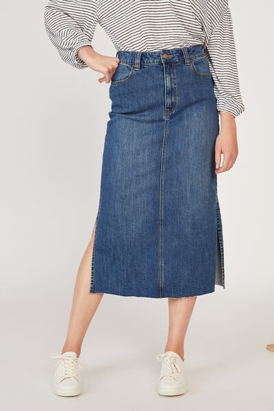 Side Split Denim Midi Skirt, CE-INDIGO BLUE