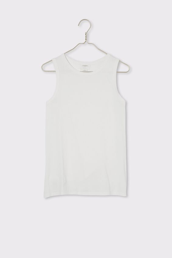 Organic Daily Step Hem Tank, WHITE