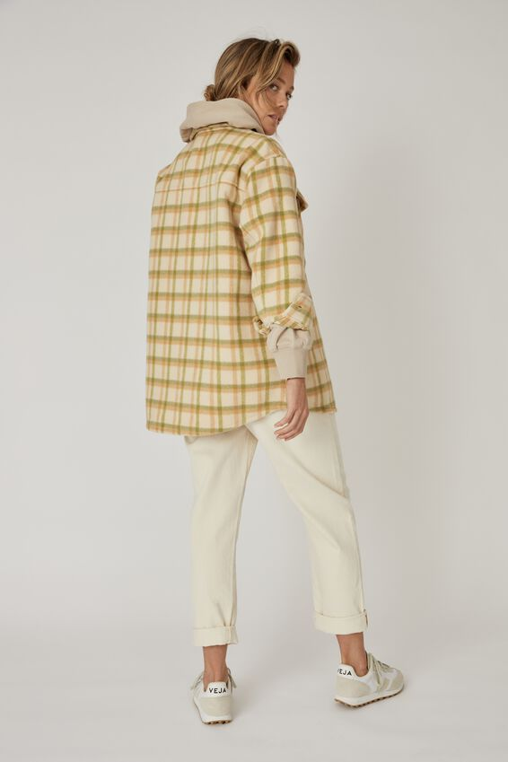 Oversized Shacket, ECRU/GREEN/CAMEL CHECK