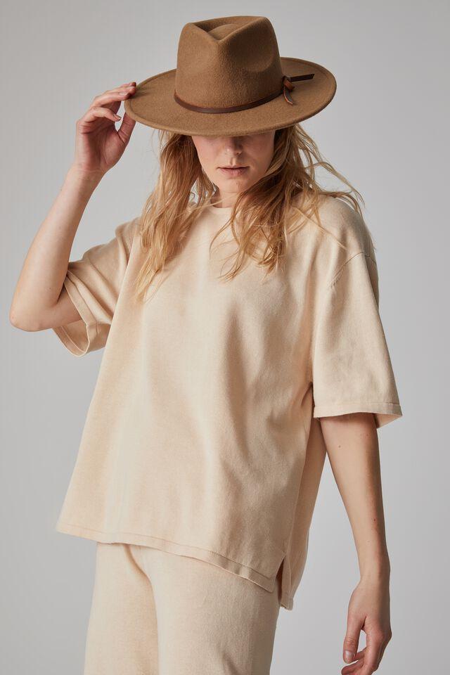 Organic Cotton Boxy Knit Tee, LIGHT CAMEL