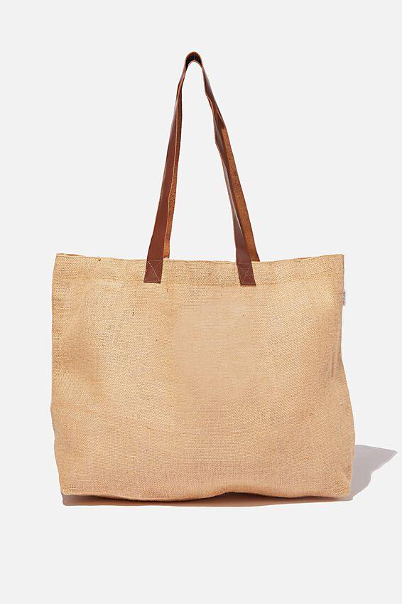 Thyli Nala Jute Tote Bag, NATURAL