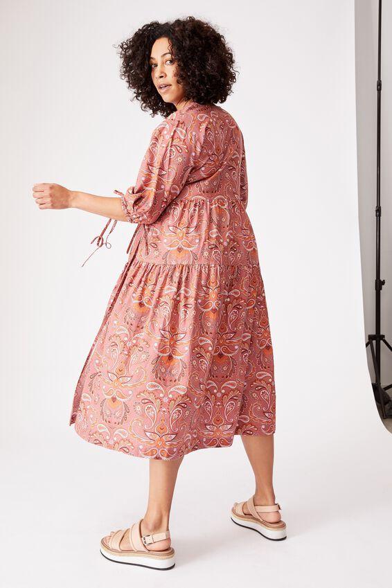 Picnic Wrap Dress, PAISLEY RUSTY ROSE