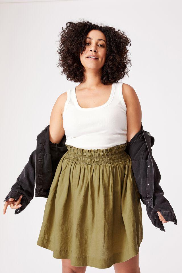 Linen Mini Skirt, DILL