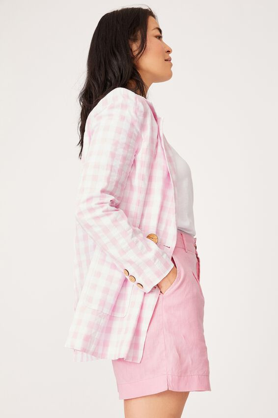 Gingham Blazer, PINK TEXTURED GINGHAM