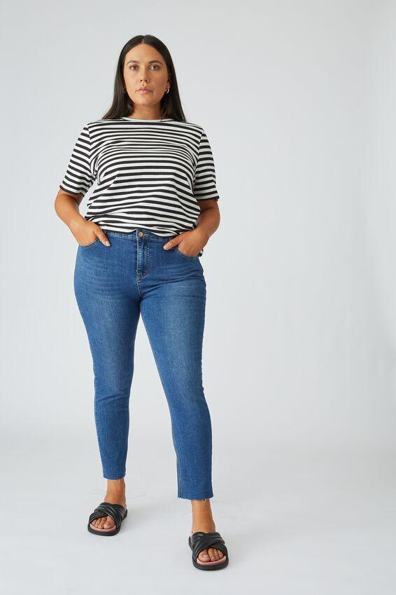 Raw Hem Skinny Leg Jean, INDIGO BLUE