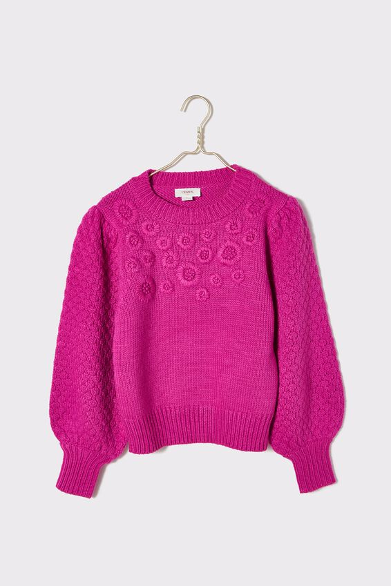 Embroidered Puff Sleeve Crew Neck Jumper, VERY BERRY MARLE