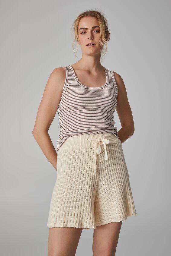Organic Cotton Rib Knit Short, ECRU