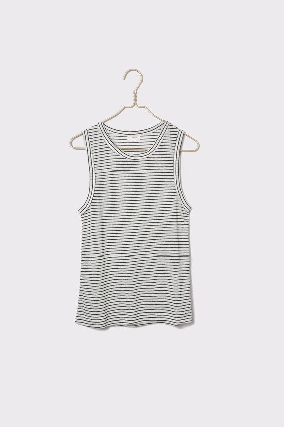 Linen Tank, WHITE/BLACK STRIPE