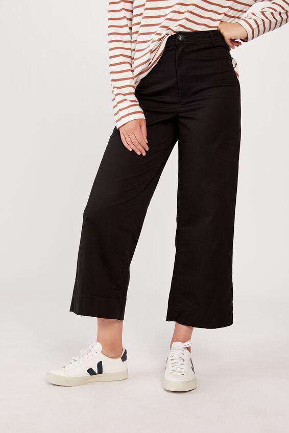 Wide Leg Pants, BLACK