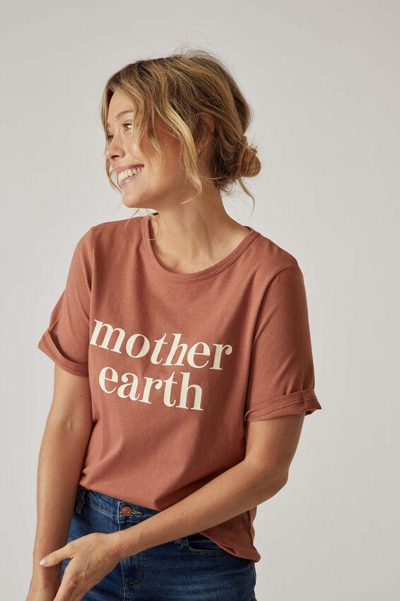 Organic Daily Print Tee, RUST EARTH