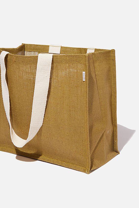 Thyli Olive Large Jute Tote Bag, OLIVE