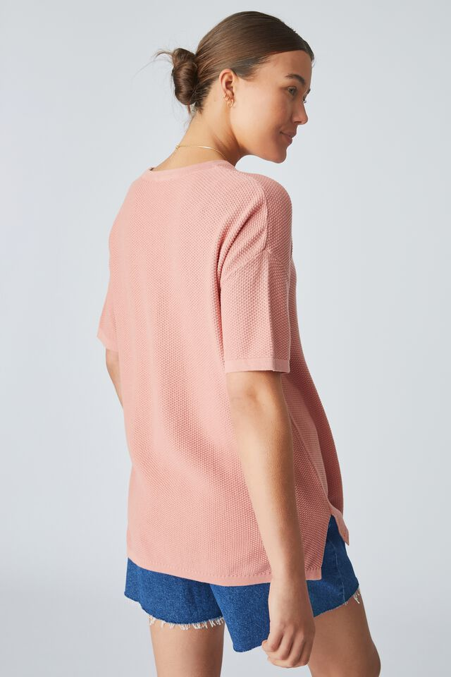 Organic Cotton Oversized Knit Tee, SPICED PINK